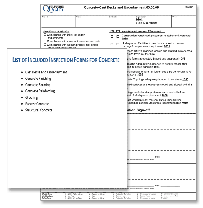 concrete inspection form list and example