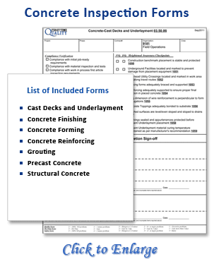 New concrete quality control plans manuals by first time for Construction finishing checklist