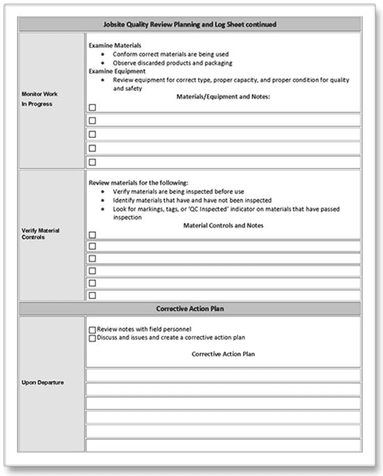 construction job site quality control audit form pg 2