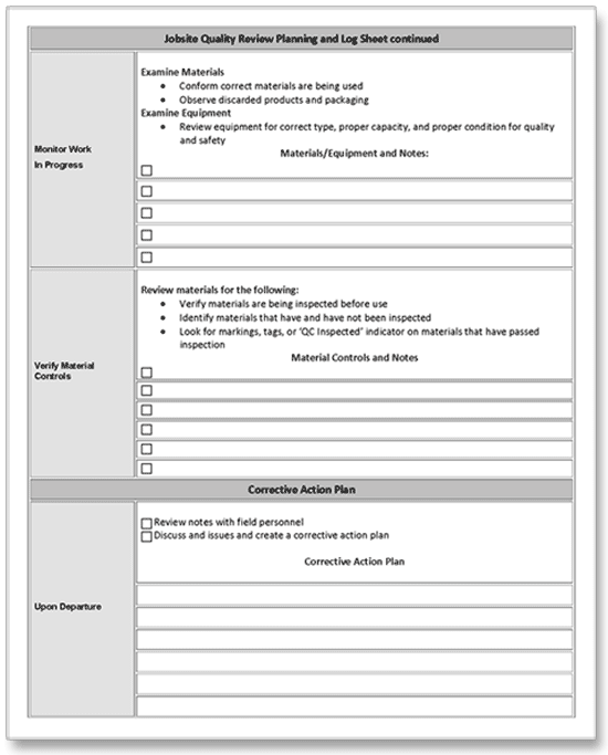 construction job site quality control review planning and log sheet