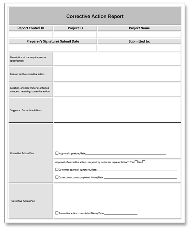 Sample Corrective Action Plan Template | Corrective Action Report Example