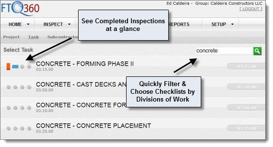 FTQ360 Filter tasks by division of work