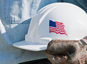 hard hat with American flag
