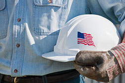 construction hard hat with flag