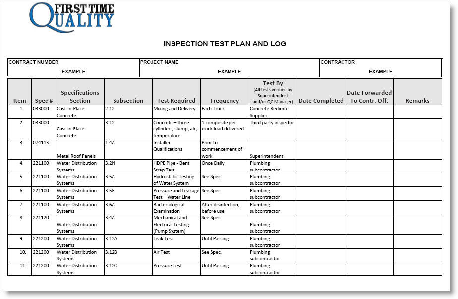 Construction Inspection Test Plan Example