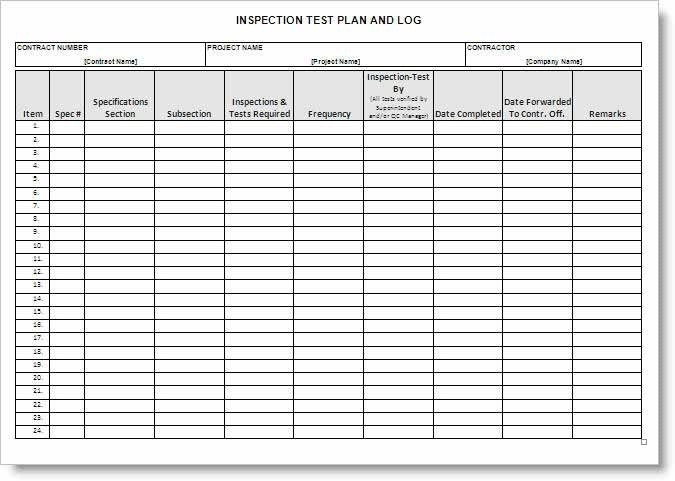 Construction Inspection Test Plan Form ITP