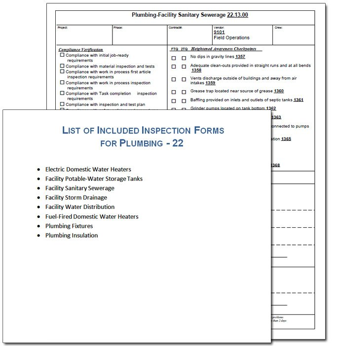 Plumbing Inspection Form Sample