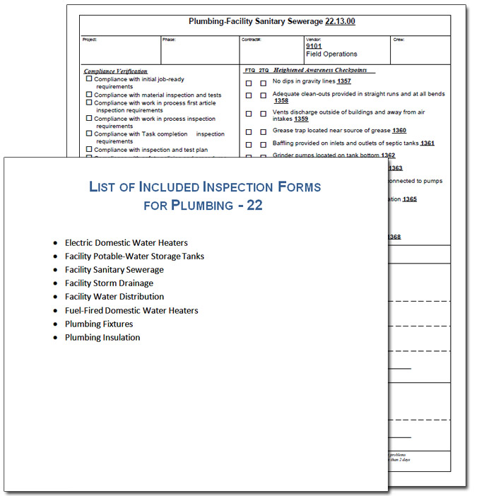 Plumbing inspection form example