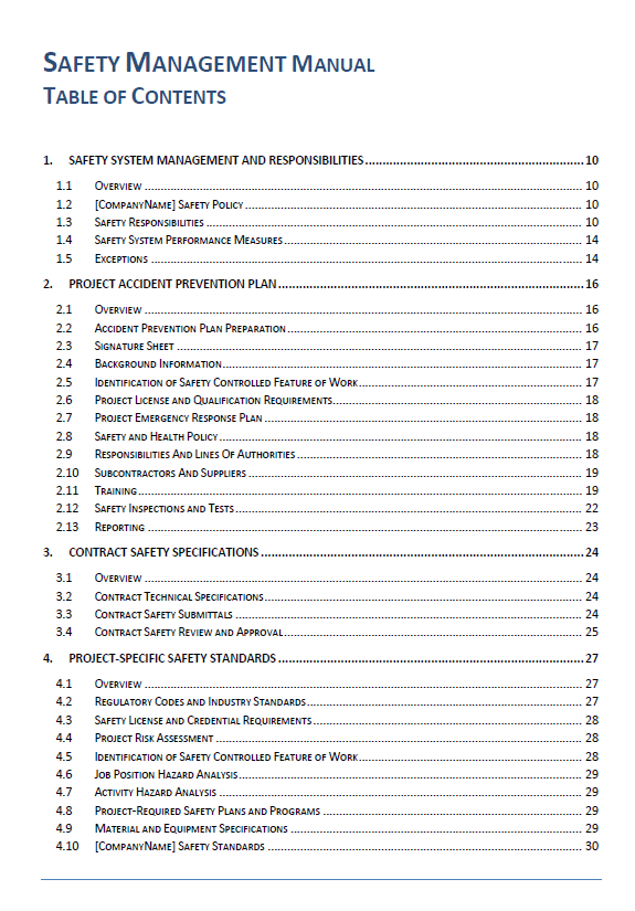 safety management manual table of contents rh firsttimequality com highway safety manual table of contents Safety Manual Table of Contents for Assisted Living