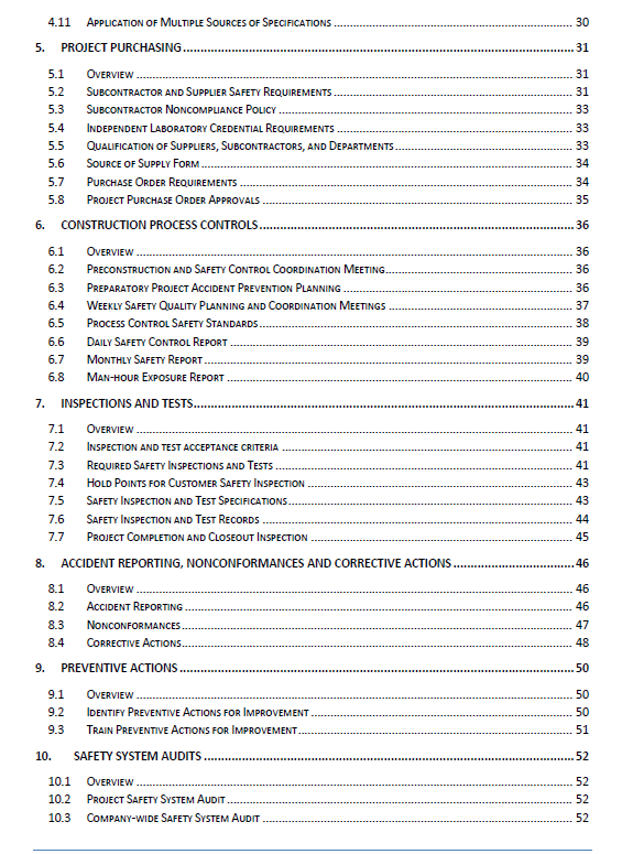 safety management manual table of contents rh firsttimequality com Safety Manual Table of Contents Civil Printable Safety Manual