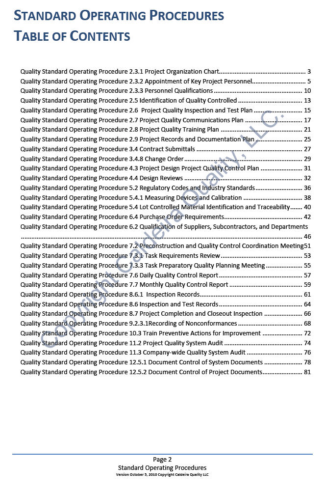 Standard operating procedures table of contents for Quality control procedure template