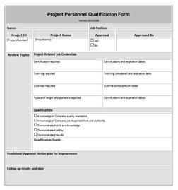 Construction Quality Personnel Qualification Form