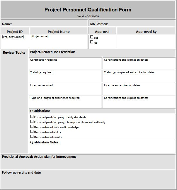 Construction Quality Personnel Qualification Form Example